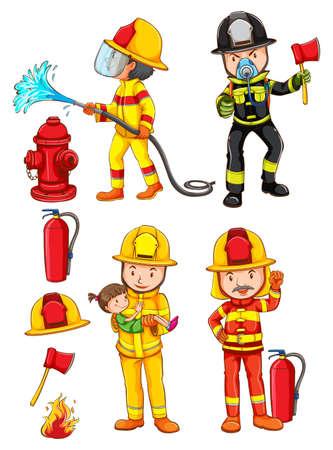 Ilustración de los simples bocetos de los bomberos sobre un fondo blanco