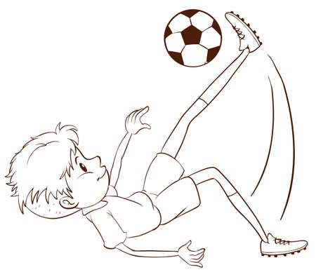 contingent: Illustration of a plain sketch of a soccer player on a white background
