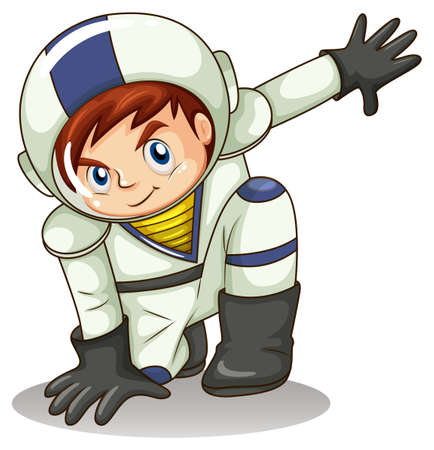 spaceflight: Illustration of a young astronaut on a white background