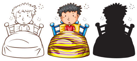 Illustration of the sketches of a man in bed on a white background  Vector