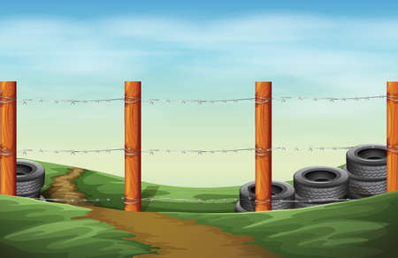 Illustration of a barbwire fence