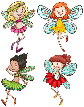 untrue: Illustration of the simple sketches of fairies on a white background