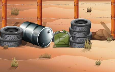 barbwire: Illustration of the wheels and fuel containers near the barbwire fence