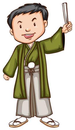 Illustration of a man in japanese costume Illustration