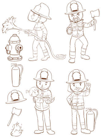 drawing safety: Illustration of fire fighters and equipments