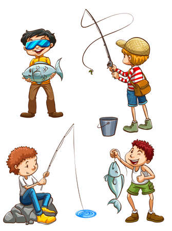 aquaculture: Illustration of a sketch of men fishing on a white background