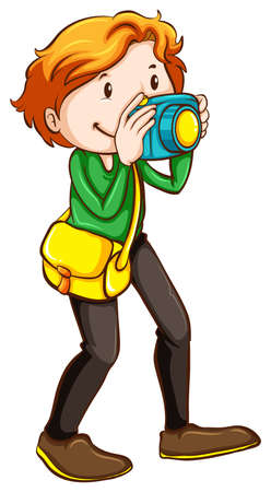 encodes: Illustration of a coloured sketch of a photographer on a white background  Illustration