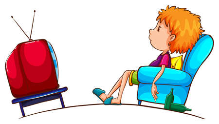 Illustration of a sketch of a lazy boy watching TV on a white background  Vettoriali