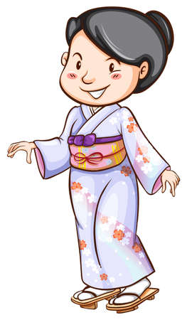 Illustration of a woman in japanese costume