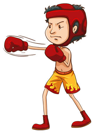 Illustration of a coloured sketch of a boxer on a white background Zdjęcie Seryjne - 32222505