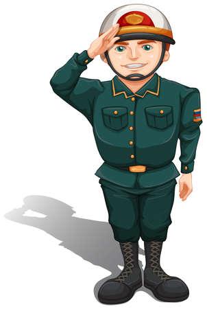 fallschirmj�ger: Illustration eines Soldaten zeigt etwas Respekt auf einem wei�en Hintergrund