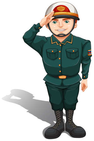 Illustration of a soldier showing some respect on a white background  Vector