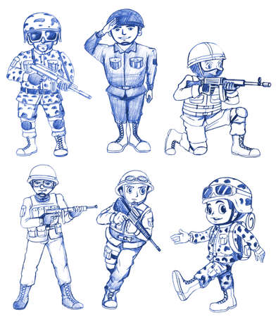 army boots: Illustration of many soldier in different uniforms