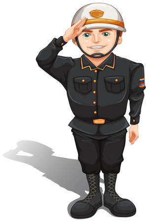 man standing alone: Illustration of a close up soldier