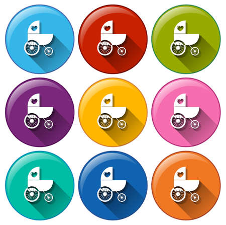 Illustration of the round buttons with a baby stroller on a white background  Vector