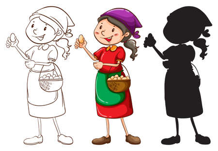 Illustration of a sketch of a female vendor in different colors on a white background  Vector
