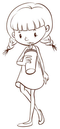 simple girl: Illustration of a simple sketch of a young girl drinking on a white background  Illustration