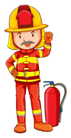 Illustration of a simple drawing of a fireman on a white background