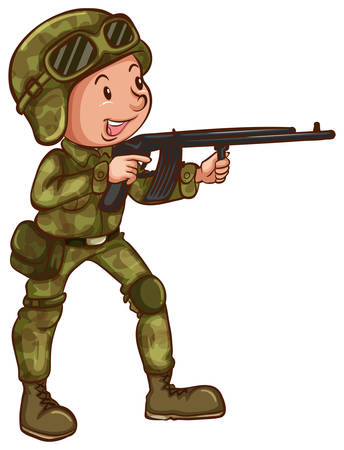 Illustration of a close up soldier