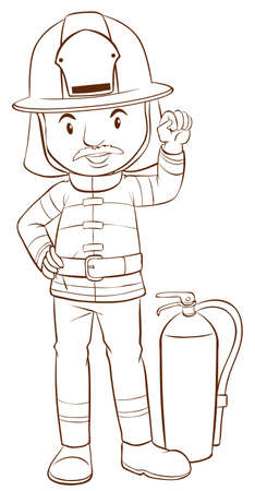 handheld device: Illustration of a plain sketch of a fireman on a white background