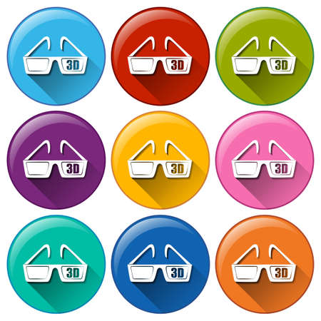 eyewear: Illustration of the round icons with a movie eyewear on a white background