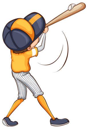 hitting: Illustrazione di un giocatore di baseball che colpisce una palla Vettoriali
