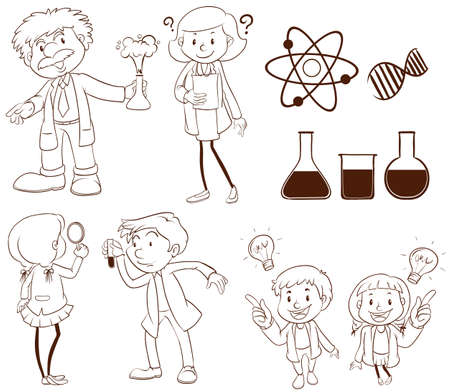 biologist: Illustration of scientists and labs