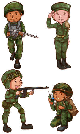 army girl: Illustration of the simple sketches of a soldier on a white background Illustration