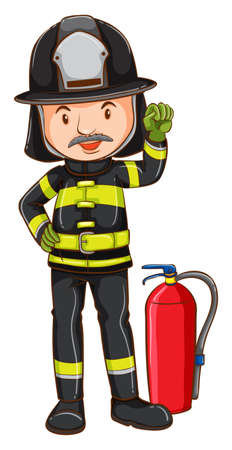 fireman: Illustration of a single fireman