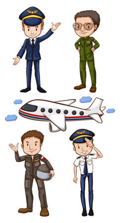 plane cartoon: Illustration of pilots and airplane