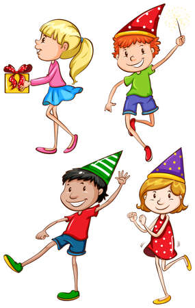 simple girl: Illustration of the coloured sketch of  the kids celebrating on a white background