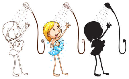 personal grooming: Illustration of the sketch of a girl taking shower on a white background