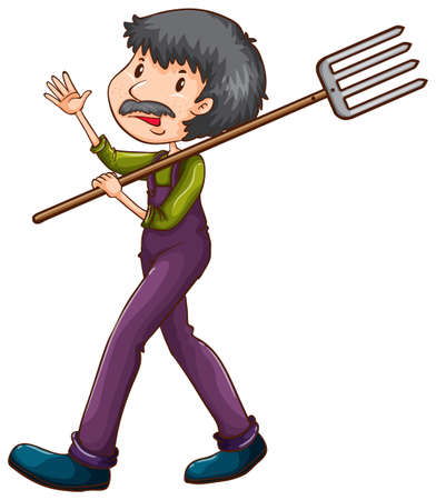 Illustration of sketch of a farmer with a rake a on a white background Vector