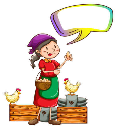 Illustration of a vendor selling eggs with an empty callout on a white background Illustration