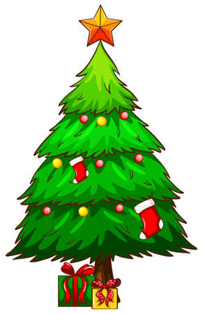 Illustration of a simple sketch of a christmas tree on a white background Vector
