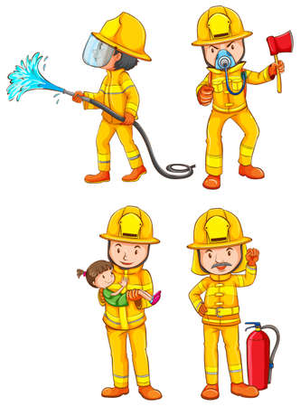 Illustration of the simple sketches of the firemen on a white background Illustration