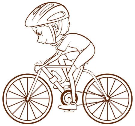 cicla: Ilustración de un solo niño montando en bicicleta