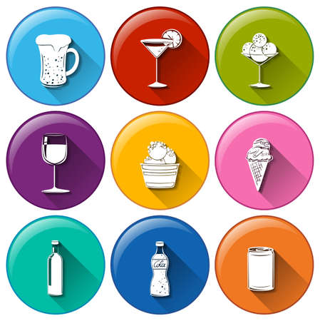 green beer: Illustration of the round icons with the different refreshing drinks on a white background