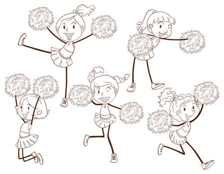 squad: Illustration of a simple sketch of a cheering squad on a white background