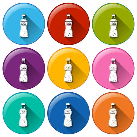 preservatives: Illustration of the round icons with softdrinks on a white background