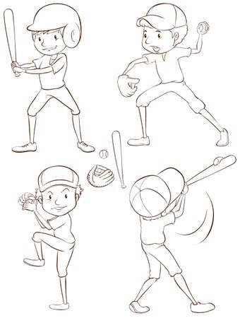 Illustration of baseball players Vector