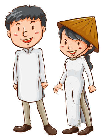 asian couple: Illustration of a couple on a white background