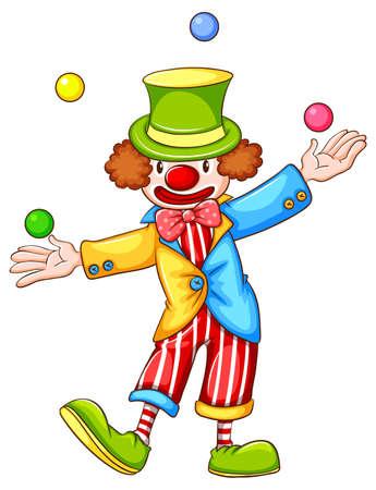 Illustration of a clown juggling balls