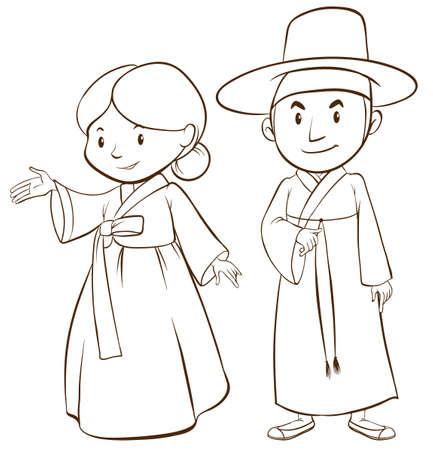 korean culture: Illustration of a couple of korean people Illustration
