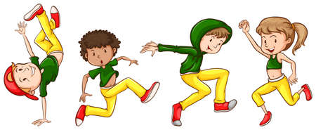 Illustration of a sketch of the dancers with green and yellow outfits on a white background Vector