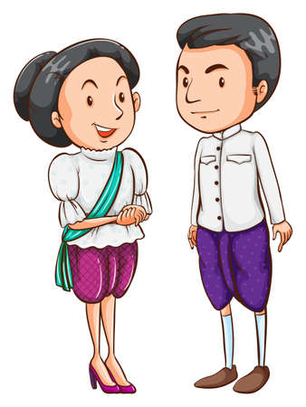 Illustration of a couple from a foreign country on a white background