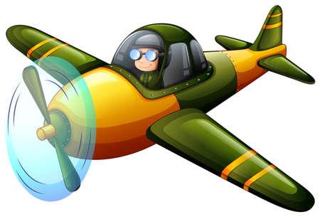 jetplane: Illustration of a green vintage plane on a white background