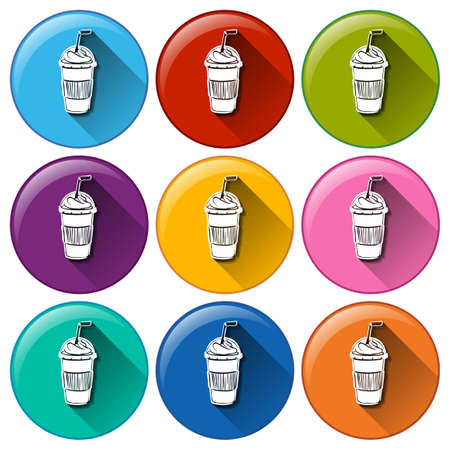 sip: Illustration of the rounded icons with cold refreshing drinks on a white background
