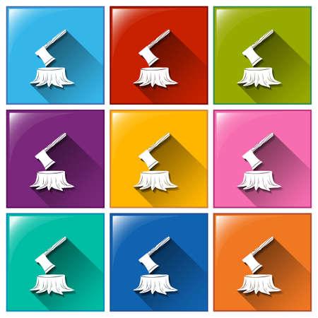 maderas: Ilustraci�n de diferente color de los iconos de la madera