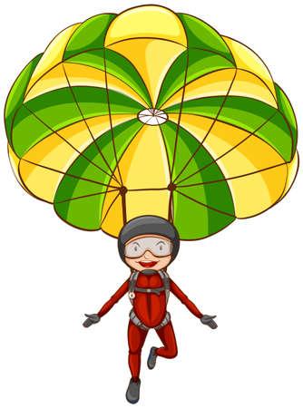 Ilustración de una persona en paracaídas en el cielo Ilustración de vector